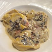 tortelloni with radicchio spek and scamorza cheese