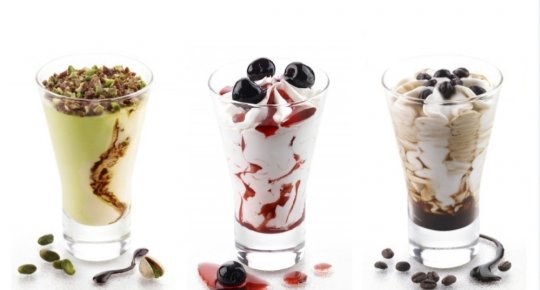 Ice cream cups in glass