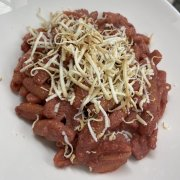 Pasta with beetroot cream and smoked ricotta